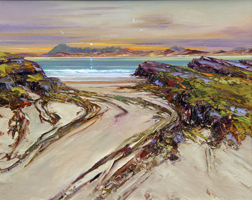 Oil painting of Skye sunset, from Arisaig.
