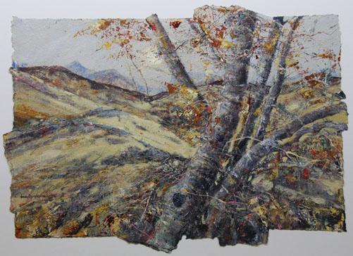 Acrylic/Collage of Some hill Birches.