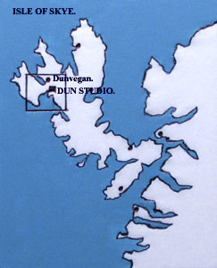 map of Skye showing location of studio.