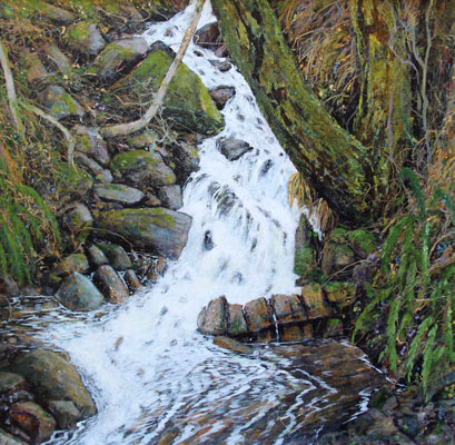 Acrylic painting of the burn at strollamus, Skye